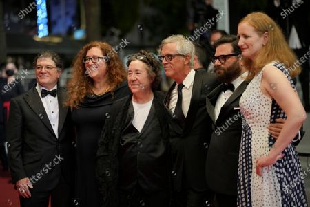Christopher Clements, from left, Julie Goldman, Christine Vachon, director Todd Haynes, Adam Kurnitz and Carolyn Hepburn pose for photographers upon arrival at the premiere of the film 'The Velvet Underground' at the 74th international film festival, Cannes, southern France