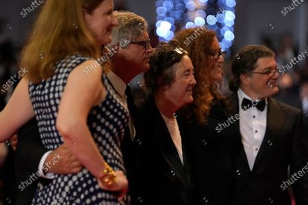 Carolyn Hepburn, from left, Todd Haynes, Christine Vachon, Julie Goldman, and Christopher Clements pose for photographers upon arrival at the premiere of the film 'The Velvet Underground' at the 74th international film festival, Cannes, southern France