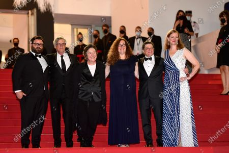 Adam Kurnitz, Todd Haynes, Christine Vachon, Julie Goldman, Christopher Clements, and Carolyn Hepburn arrive for the screening of 'The Velvet Underground' during the 74th annual Cannes Film Festival, in Cannes, France, 07 July 2021. The documentary film is presented Out of Competition at the festival which runs from 06 to 17 July.