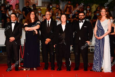 Christopher Clements, Julie Goldman, director Todd Haynes, Christine Vachon, Adam Kurnitz, and Carolyn Hepburn arrive for the screening of 'The Velvet Underground' during the 74th annual Cannes Film Festival, in Cannes, France, 07 July 2021. The documentary film is presented Out of Competition at the festival which runs from 06 to 17 July.