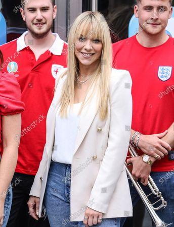 Liz McClarnon of Atomic Kitten seen at Global Radio Studios in London.