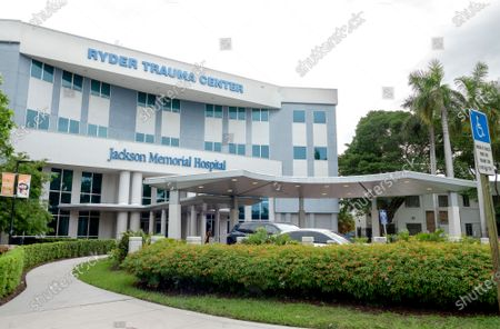 A view of the Jackson Memorial Hospital in Miami where, according to the local media, is taking treatment the Haitian First Lady, Martine Moise, in Miami, Florida, USA, 07 July 2021. The President of Haiti Jovenel Moise, was assassinated on 07 July by armed men who carried out an attack on his residence in the early morning in the Pelerin neighborhood of Port-au-Prince, said interim prime minister, Claude Joseph. The President's wife was shot multiple times in the incident.