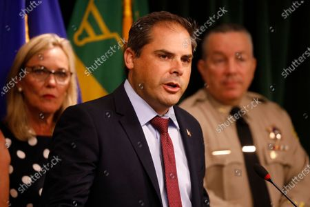 Mike Garcia, U.S Representative addressee a press conference with Los Angeles County Sheriff Alex Villanueva and Supervisor Kathryn Barger, Los Angeles County Board of Supervisors, as they discuss the results of the largest Marijuana Eradication Operation of illegal Marijuana cultivations in the history of the Los Angeles County Sheriff's Department that resulted in the seizure of approximately 373,000 marijuana plants and 33,480 lbs of harvested marijuana worth about $1.193 billion dollars. Hall of Justice on Wednesday, July 7, 2021 in Los Angeles, CA. (Al Seib / Los Angeles Times).