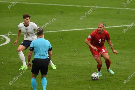 "Martin Braithwaite (Denmark)John Stones (England)                     during the Uefa  ""European Championship 2020 Semifinals  match between England 2-1 Denmark at Wembley Stadium in London, England."