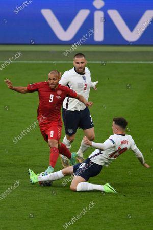 "Martin Braithwaite (Denmark)Mason Mount (England)Luke Shaw (England)                     during the Uefa  ""European Championship 2020 Semifinals  match between England 2-1 Denmark at Wembley Stadium in London, England."