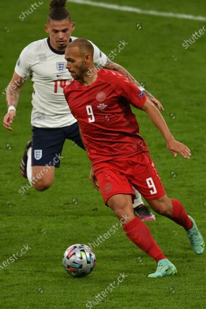 "Martin Braithwaite (Denmark)Kalvin Phillips (England)                     during the Uefa  ""European Championship 2020 Semifinals  match between England 2-1 Denmark at Wembley Stadium in London, England."