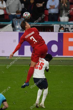 "Jannik Vestergaard (Denmark)Bukayo Saka (England)                     during the Uefa  ""European Championship 2020 Semifinals  match between England 2-1 Denmark at Wembley Stadium in London, England."