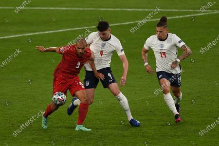 "Martin Braithwaite (Denmark)Declan Rice (England)Kalvin Phillips (England)                          during the Uefa  ""European Championship 2020 Semifinals  match between England 2-1 Denmark at Wembley Stadium in London, England."