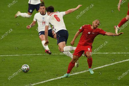 "Harry Maguire (England)Martin Braithwaite (Denmark)                     during the Uefa  ""European Championship 2020 Semifinals  match between England 2-1 Denmark at Wembley Stadium in London, England."