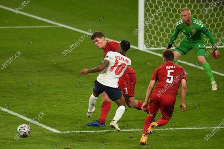 "Jannik Vestergaard (Denmark)Raheem Sterling (England)Joakim Maehle (Denmark)                     during the Uefa  ""European Championship 2020 Semifinals  match between England 2-1 Denmark at Wembley Stadium in London, England."