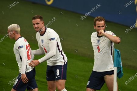 """Harry Kane (England)Jordan Henderson (England)Phil Foden (England)  celebrates after scoring his team's second goal                     during the Uefa  """"European Championship 2020 Semifinals  match between England 2-1 Denmark at Wembley Stadium in London, England."""