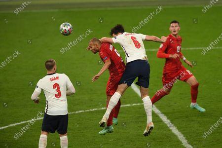 "Luke Shaw (England)Martin Braithwaite (Denmark)Harry Maguire (England)    during the Uefa  ""European Championship 2020 Semifinals  match between England 2-1 Denmark at Wembley Stadium in London, England."