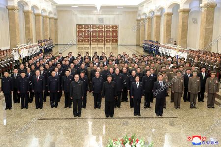 A photo released by the official North Korean Central News Agency (KCNA) shows Kim Jong-Un (C), general secretary of the Workers' Party of Korea and president of the State Affairs of the Democratic People's Republic of Korea, visiting the Kumsusan Palace of the Sun in Pyongyang, North Korea, 08 July 2021. The Kumsusan Palace of the Sun is a mausoleum that serves as the final resting place for both Kim Il-sung, the founder of North Korea, and his son Kim Jong-il.