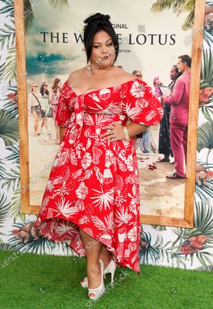"""Jolene Purdy, a cast member in """"The White Lotus,"""" poses at the premiere of the HBO limited series, at the Bel Air Bay Club in Los Angeles"""