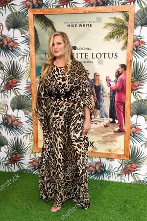 """Stock Image of Jennifer Coolidge, a cast member in """"The White Lotus,"""" poses at the premiere of the HBO limited series, at the Bel Air Bay Club in Los Angeles"""