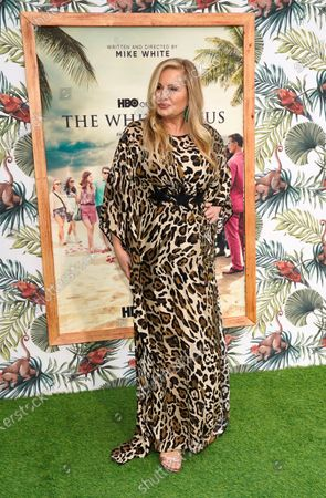 """Jennifer Coolidge, a cast member in """"The White Lotus,"""" poses at the premiere of the HBO limited series, at the Bel Air Bay Club in Los Angeles"""