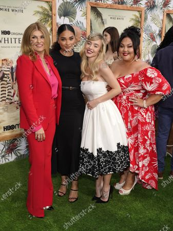 """Stock Image of From left, Connie Britton, Brittany O'Grady, Sydney Sweeney and Jolene Purdy, cast members in """"The White Lotus,"""" pose together at the premiere of the HBO limited series, at the Bel Air Bay Club in Los Angeles"""