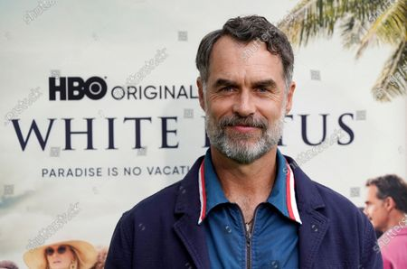 """Murray Bartlett, a cast member in """"The White Lotus,"""" poses at the premiere of the HBO limited series, at the Bel Air Bay Club in Los Angeles"""