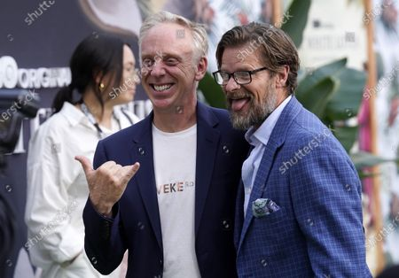 """Mike White, left, writer/director of """"The White Lotus,"""" poses with cast member Steve Zahn at the premiere of the HBO limited series, at the Bel Air Bay Club in Los Angeles"""