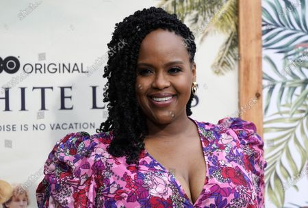 """Stock Image of Natasha Rothwell, a cast member in """"The White Lotus,"""" poses at the premiere of the HBO limited series, at the Bel Air Bay Club in Los Angeles"""
