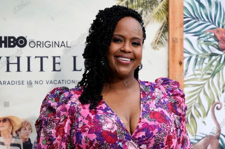 """Stock Photo of Natasha Rothwell, a cast member in """"The White Lotus,"""" poses at the premiere of the HBO limited series, at the Bel Air Bay Club in Los Angeles"""