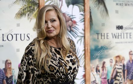 """Stock Picture of Jennifer Coolidge, a cast member in """"The White Lotus,"""" poses at the premiere of the HBO limited series, at the Bel Air Bay Club in Los Angeles"""