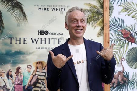 """Mike White, writer/director of """"The White Lotus,"""" strikes a pose at the premiere of the HBO limited series, at the Bel Air Bay Club in Los Angeles"""