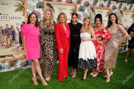 """From left, Molly Shannon, Jennifer Coolidge, Connie Britton, Brittany O'Grady, Sydney Sweeney, Jolene Purdy and Alexandra Daddario, cast members in """"The White Lotus,"""" pose together at the premiere of the HBO limited series, at the Bel Air Bay Club in Los Angeles"""