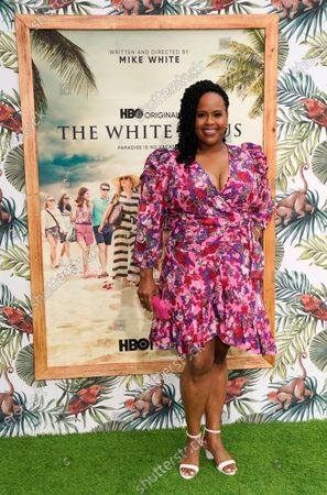 """Natasha Rothwell, a cast member in """"The White Lotus,"""" poses at the premiere of the HBO limited series, at the Bel Air Bay Club in Los Angeles"""