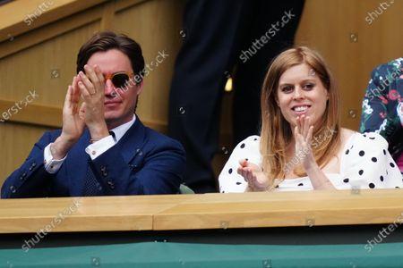 Stock Photo of Princess Beatrice and husband Edoardo Mapelli Mozzi in the Royal Box on Centre Court