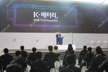 South Korean President Moon Jae-in (at podium) speaks during a report session on the country's rechargeable battery development strategies at an LG Energy Solution plant in Cheongju, some 140km south of Seoul, South Korea, 08 July 2021.