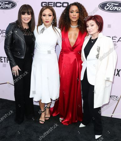 Stock Photo of Marie Osmond, Carrie Ann Inaba, Eve Jihan Jeffers Cooper and Sharon Osbourne arrive at the 2020 13th Annual ESSENCE Black Women in Hollywood Awards Luncheon held at the Beverly Wilshire, A Four Seasons Hotel on February 6, 2020 in Beverly Hills, Los Angeles, California, United States.