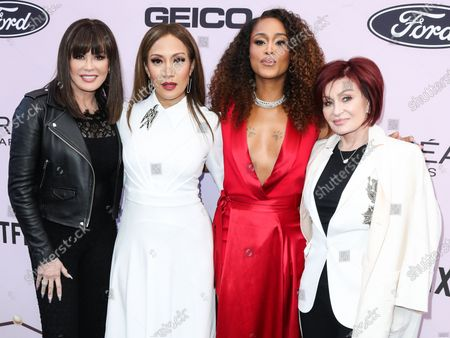 Marie Osmond, Carrie Ann Inaba, Eve Jihan Jeffers Cooper and Sharon Osbourne arrive at the 2020 13th Annual ESSENCE Black Women in Hollywood Awards Luncheon held at the Beverly Wilshire, A Four Seasons Hotel on February 6, 2020 in Beverly Hills, Los Angeles, California, United States.