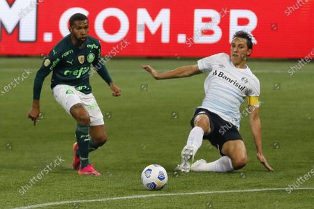Stock Picture of Wesley and Pedro Geromel during the Brazilian National League (Campeonato Brasileiro Serie A) football match between Palmeiras v Gremio at the Allianz Parque stadium formerly known as Palestra Italia, in Sao Paulo, SP.