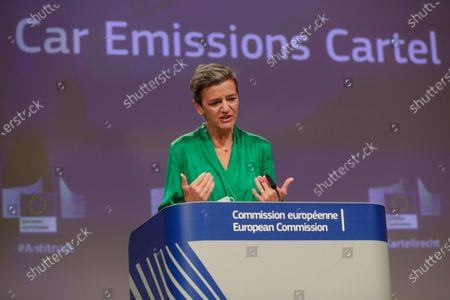 European Commission's executive vice president Margrethe Vestager gives a press conference on an antitrust case, Car Emissions Cartel, at the European Commission, in Brussels, Belgium, 08 July 2021.