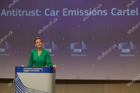 Editorial image of Press conference by Executive Vice-President Margrethe Vestager on an antitrust case (Car Emissions Cartel), Brussels, Belgium - 08 Jul 2021