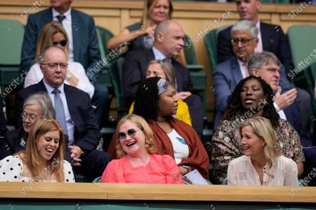Sophie, Countess of Wessex, right, and Princess Beatrice, left, attend the women's singles semifinals match between Germany's Angelique Kerber and Australia's Ashleigh Barty on day ten of the Wimbledon Tennis Championships in London