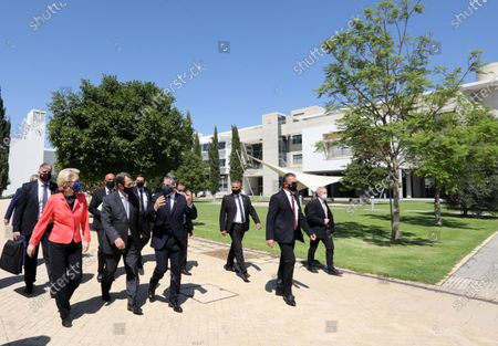 European Commission President Ursula von der Leyen and Cyprus President Nicos Anastasiades attend the presentation event of the Cyprus Recovery and Resilience Plan (RRP) at the University of Cyprus, in Nicosia, Cyprus, 08 July 2021.