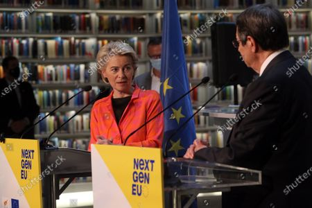European Commission President Ursula von der Leyen (L) and Cyprus President Nicos Anastasiades attend a presentation event for the Cyprus Recovery and Resilience Plan (RRP) at the University of Cyprus, in Nicosia, Cyprus, 08 July 2021.