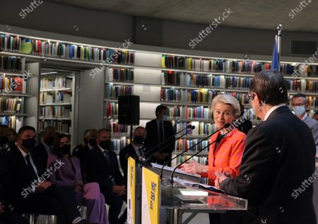 European Commission President Ursula von der Leyen (2-R) and Cyprus President Nicos Anastasiades (R) attend a presentation event for the Cyprus Recovery and Resilience Plan (RRP) at the University of Cyprus, in Nicosia, Cyprus, 08 July 2021.