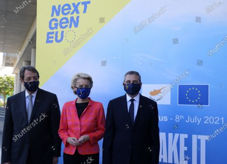 European Commission President Ursula von der Leyen (C), Cyprus President Nicos Anastasiades (L) and Tasos Christofides, Rector of the University of Cyprus, attend a presentation event of the Cyprus Recovery and Resilience Plan (RRP) at the University of Cyprus, in Nicosia, Cyprus, 08 July 2021.