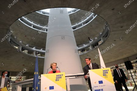 European Commission president Ursula von der Leyen (C) and Cyprus President Nicos Anastasiades (R) attend a presentation event for the Cyprus Recovery and Resilience Plan (RRP) at the University of Cyprus, in Nicosia, Cyprus, 08 July 2021.