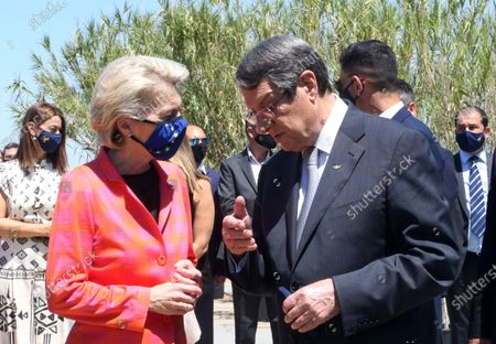 European Commission President Ursula von der Leyen (L) and Cyprus President Nicos Anastasiades attend a presentation event of the Cyprus Recovery and Resilience Plan (RRP) at the University of Cyprus, in Nicosia, Cyprus, 08 July 2021.