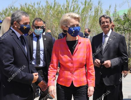 European Commission President Ursula von der Leyen (C), Cyprus President Nicos Anastasiades (R) and Tasos Christofides, Rector of the University of Cyprus (L), attend a presentation event of the Cyprus Recovery and Resilience Plan (RRP) at the University of Cyprus, in Nicosia, Cyprus, 08 July 2021.