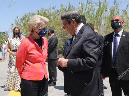 European Commission President Ursula von der Leyen (L) and Cyprus President Nicos Anastasiades (C) attend a presentation event of the Cyprus Recovery and Resilience Plan (RRP) at the University of Cyprus, in Nicosia, Cyprus, 08 July 2021.