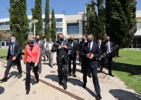 European Commission President Ursula von der Leyen (2-L) and Cyprus President Nicos Anastasiades (C) attend a presentation event of the Cyprus Recovery and Resilience Plan (RRP) at the University of Cyprus, in Nicosia, Cyprus, 08 July 2021.