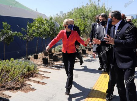 European Commission President Ursula von der Leyen (L), Cyprus President Nicos Anastasiades (C) and Tasos Christofides, Rector of the University of Cyprus (R) attend the presentation event of the Cyprus Recovery and Resilience Plan (RRP) at the University of Cyprus, in Nicosia, Cyprus, 08 July 2021.