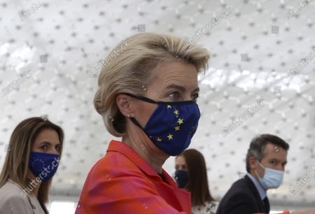 European Commission president Ursula von der Leyen is seen during a presentation event for the Cyprus Recovery and Resilience Plan together with Cyprus President Nicos Anastasiades, at the University of Cyprus, in Nicosia, on . Leyen is in Cyprus for two-day visit