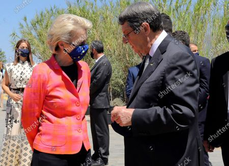 Stock Image of European Commission president Ursula von der Leyen, left, and Cyprus President Nicos Anastasiades talk after a presentation event for the Cyprus Recovery and Resilience Plan at the University of Cyprus, in Nicosia, on . Leyen is in Cyprus for two-day visit