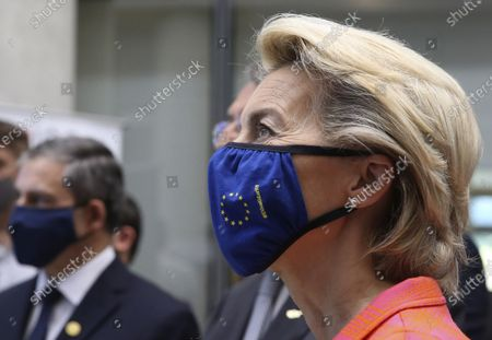 Stock Photo of European Commission president Ursula von der Leyen is seen during a presentation event for the Cyprus Recovery and Resilience Plan together with Cyprus President Nicos Anastasiades, at the University of Cyprus, in Nicosia, on . Leyen is in Cyprus for two-day visit